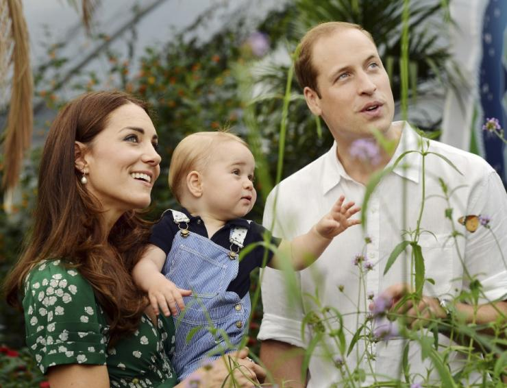 Britain's Catherine, Duchess of Cambridge, carries her son Prince George alongside her husband Prince William as they visit the Sensational Butterflies exhibition at the Natural History Museum in London, July 2, 2014. Prince George celebrates his fir