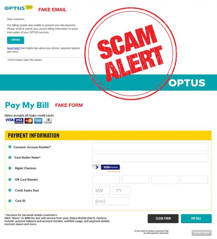 A phishing scam that is designed to look like an official Optus email